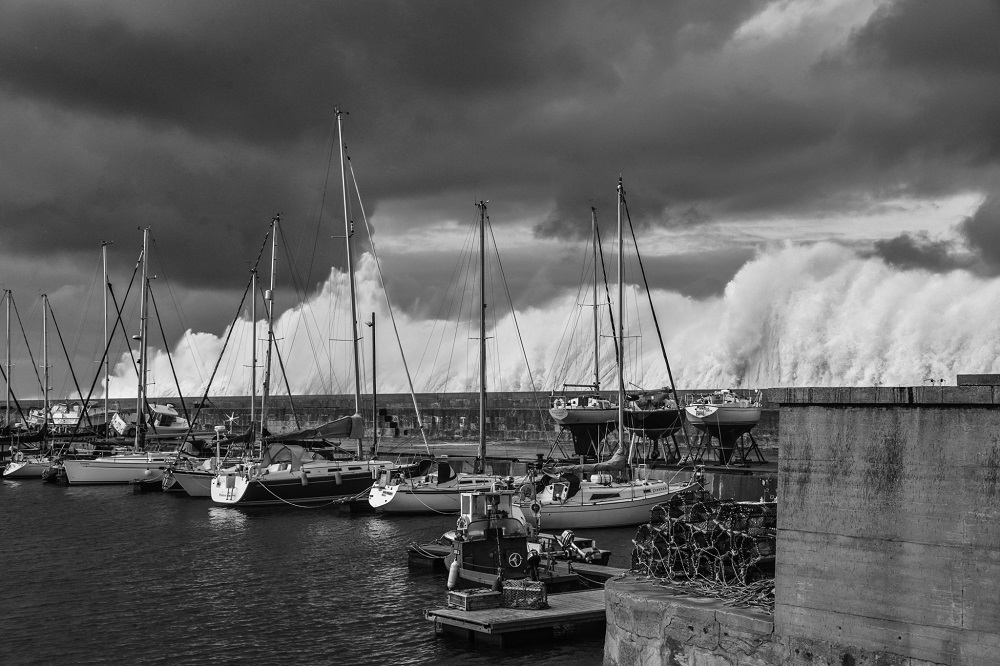 Stormy Waters at Lossiemouth Harbour by David Main, Lossiemouth
